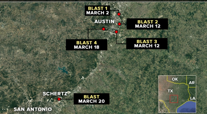 5th package explosion in Texas reminds of a black mirror episode of technology misused by humanity.